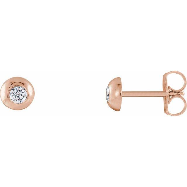 14K Rose 1/8 CTW Diamond Domed Stud Earrings