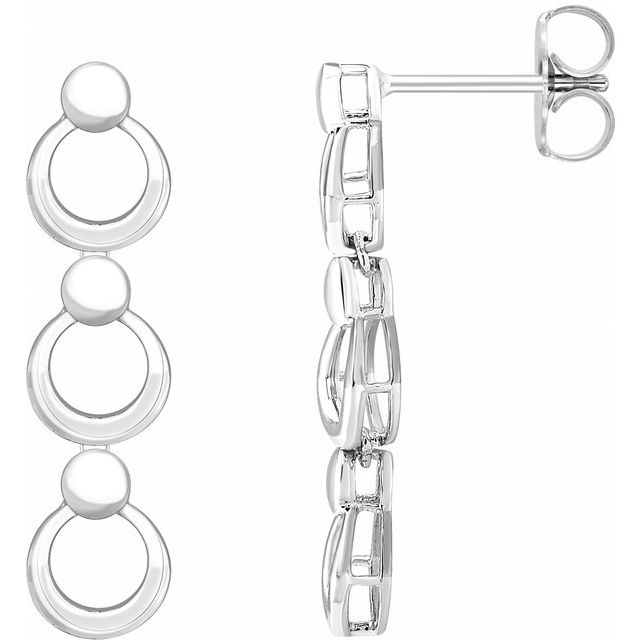 14K White Geometric Dangle Earrings