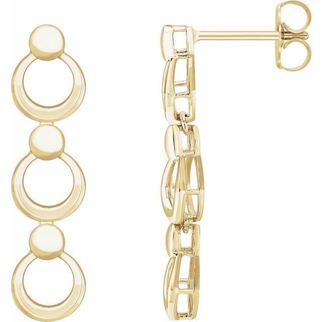 14K Yellow Geometric Dangle Earrings