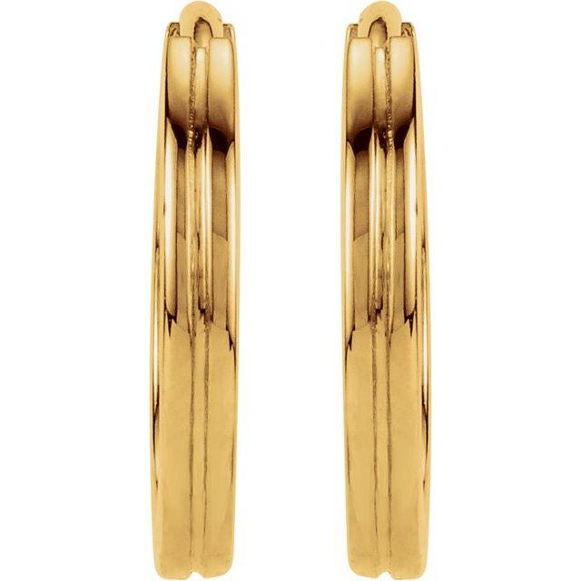 14K Yellow 10.3 mm Grooved Huggie Earrings