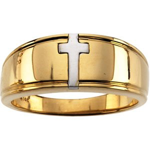 14K White Men-s Cross Band