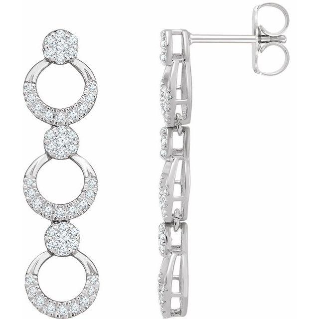 14K White 1/2 CTW Diamond Geometric Dangle Earrings