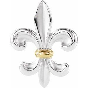 Sterling Silver & 14K Yellow Fleur-de-lis Pendant