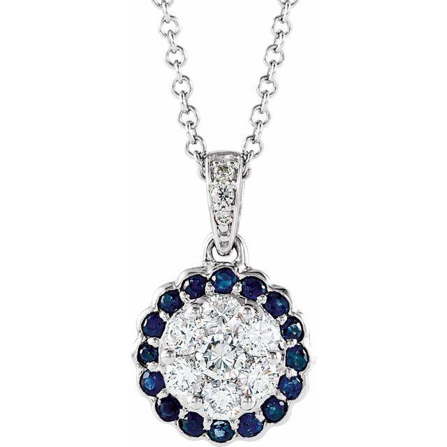 14K White Blue Sapphire & 1/3 CTW Diamond Necklace