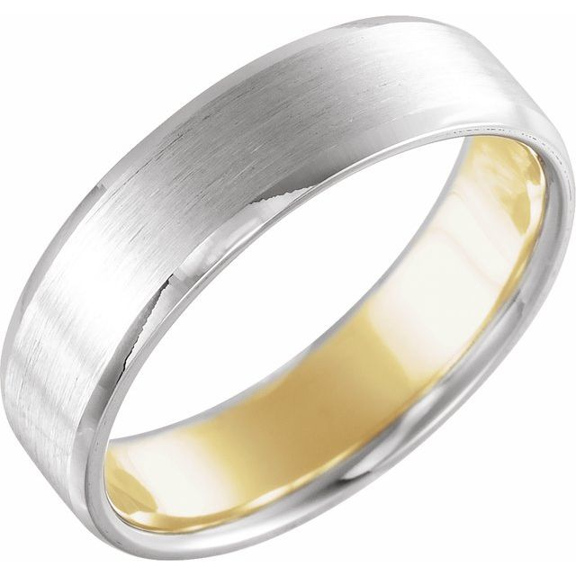 14K White/Yellow 6 mm Beveled Edge Band with Matte Finish Size 10