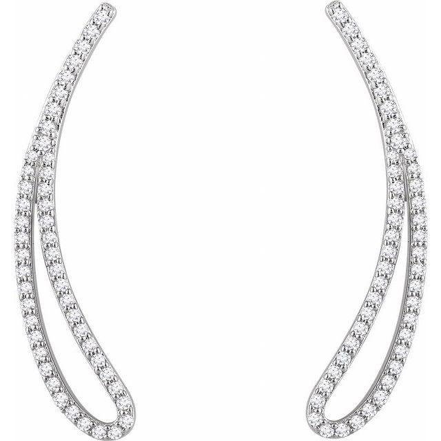 14K White 1/4 CTW Diamond Ear Climbers
