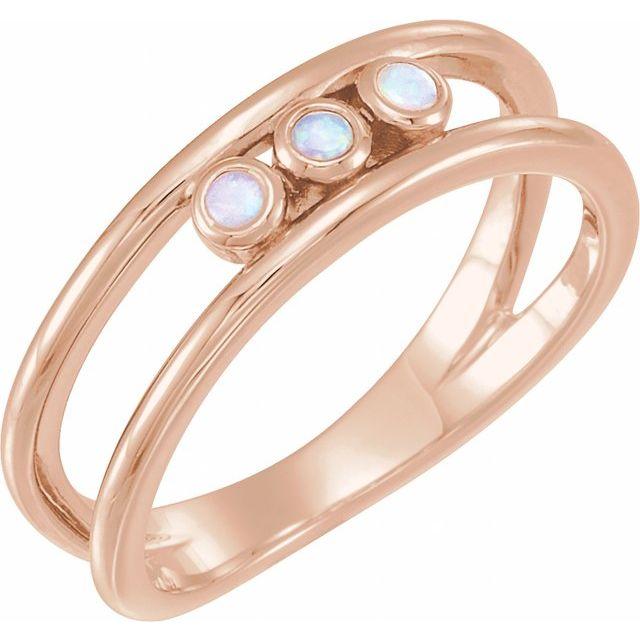 14K Rose Opal Three-Stone Bezel-Set Ring