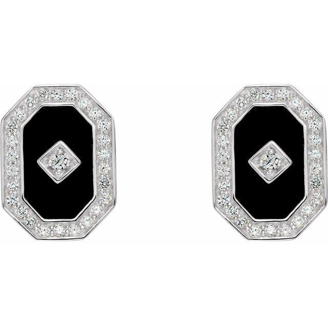 Sterling Silver Onyx & Cubic Zirconia Halo-Style Earrings
