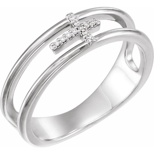 Sterling Silver 1/6 CTW Diamond Negative Space Cross Ring