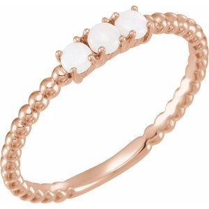 14K Rose Opal Stackable Beaded Ring