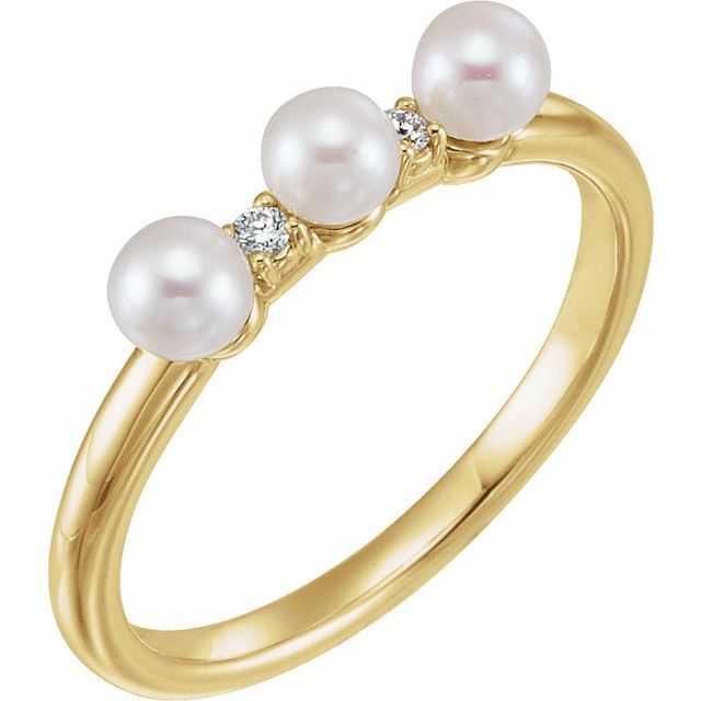 14K Yellow Cultured White Freshwater Pearl & .03 CTW Natural Diamond Stackable Ring