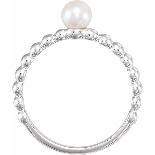 14K White 5.5-6.0 mm Freshwater Cultured Pearl Stackable Beaded Ring