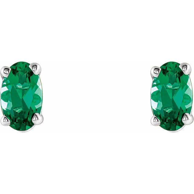 14K White Lab-Grown Emerald Earrings