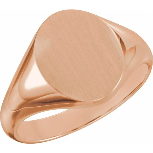 14K Rose 10x8 mm Oval Signet Ring
