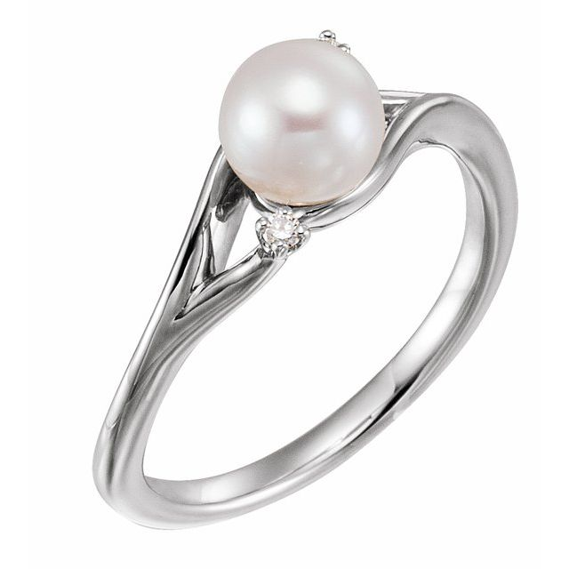 14K White Cultured White Freshwater Pearl & .03 CTW Natural Diamond Bypass Ring