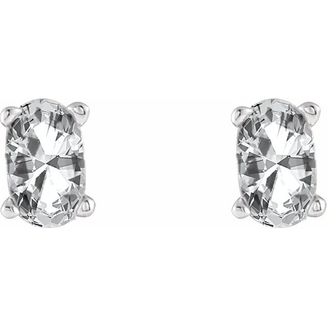 14K White Sapphire Earrings