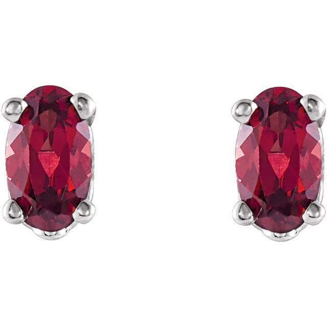 14K White Mozambique Garnet Earrings