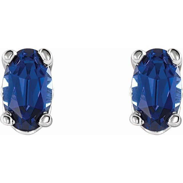 14K White Chatham® Created Blue Sapphire Earrings