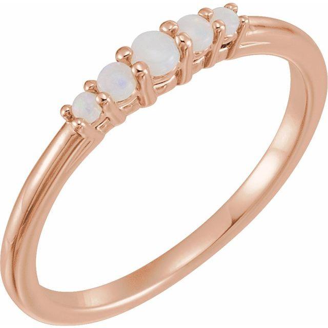 14K Rose Opal Graduated Five-Stone Ring