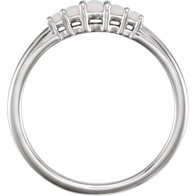 14K White Opal Graduated Five-Stone Ring