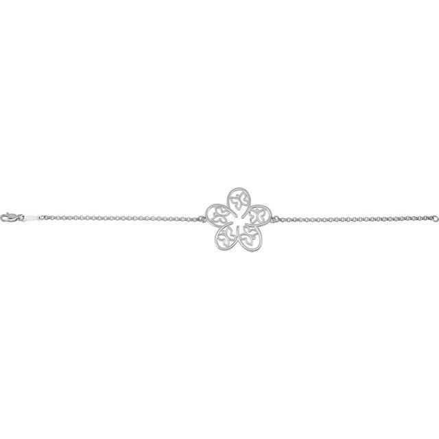 Sterling Silver Flower & Butterfly 7 1/2
