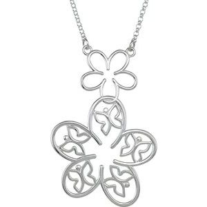 14K White Flower & Butterfly Necklace Center