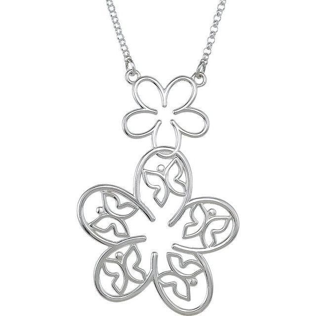14K White Flower & Butterfly Necklace Center