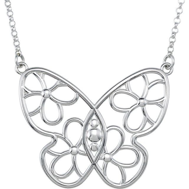 Sterling Silver Butterfly & Floral-Inspired 15.5