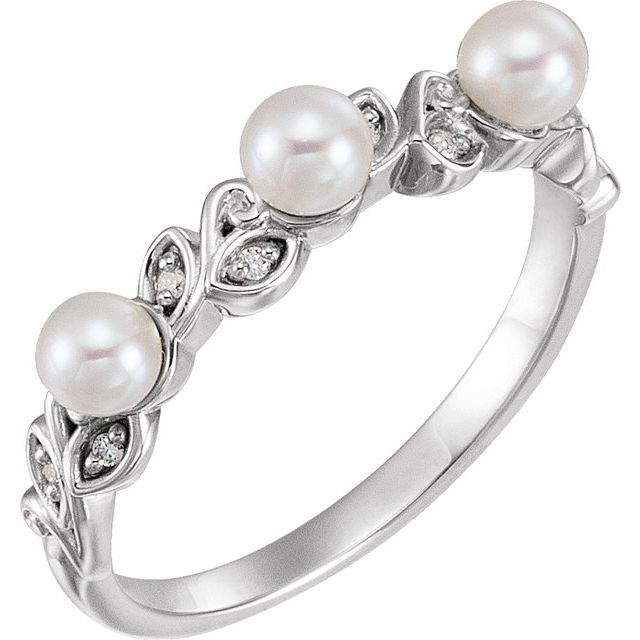 14K White Cultured White Seed Pearl & .03 CTW Natural Diamond Stackable Leaf Pattern Ring