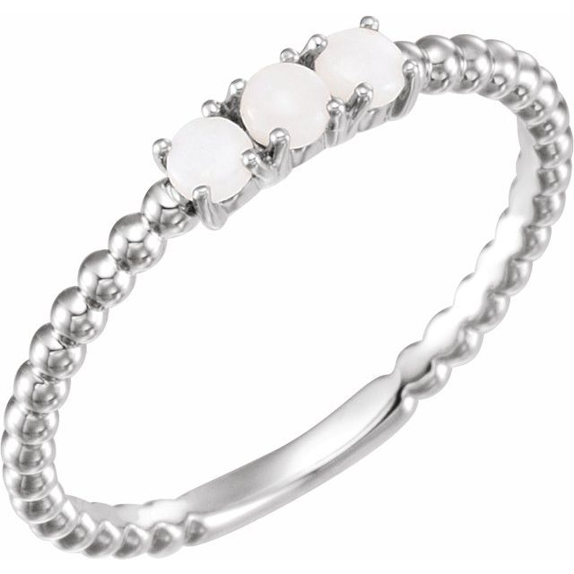 14K White Opal Stackable Beaded Ring