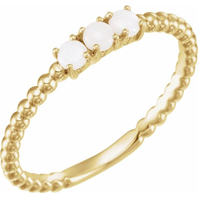 14K Yellow Stackable Opal Bead Ring