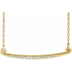 "14K Yellow .05 CTW Diamond Curved Bar 16-18"" Necklace"