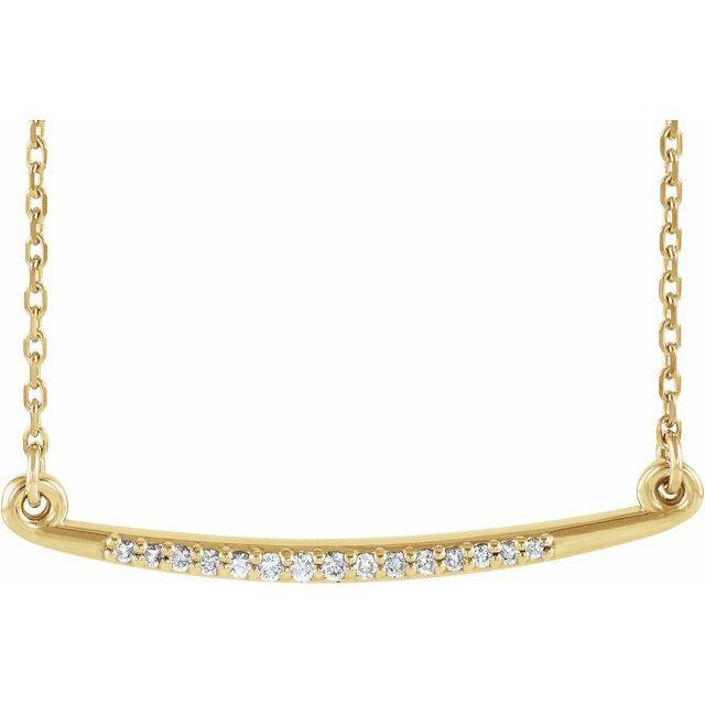 14K Yellow .05 CTW Diamond Curved Bar 16-18