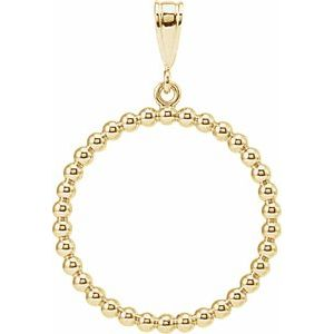 14K Yellow Beaded Circle Silhouette Pendant