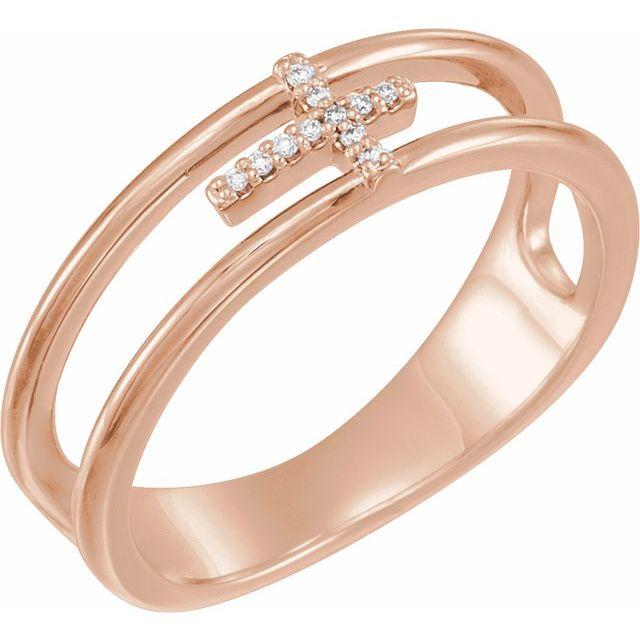 14K Rose 1/6 CTW Diamond Negative Space Cross Ring