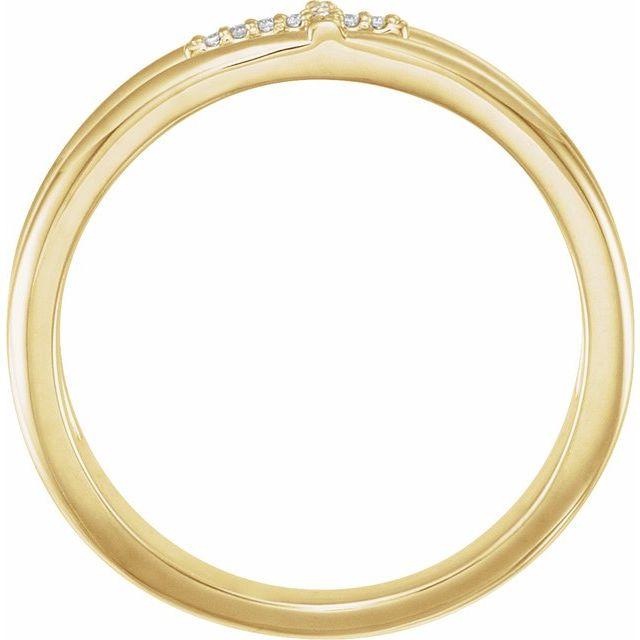 14K Yellow .03 CTW Diamond Negative Space Cross Ring