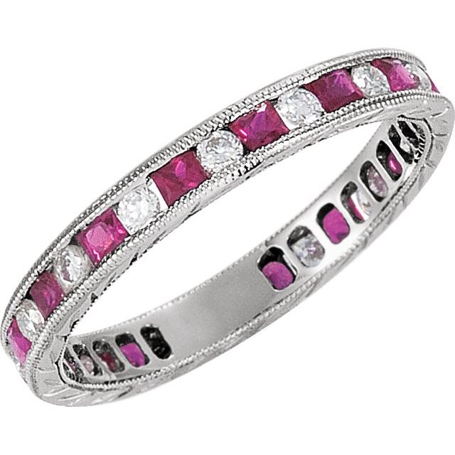 14K White Natural Ruby & 1/4 CTW Natural Diamond Eternity Band Size 7