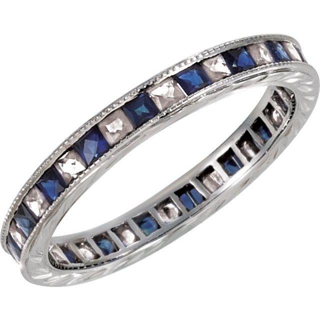 14K White Natural Blue Sapphire & 1/2 CTW Natural Diamond Eternity Band