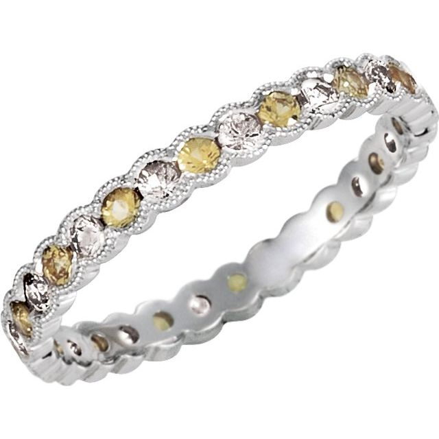 14K White 1/3 CTW Diamond & Yellow Sapphire Eternity Band Size 6
