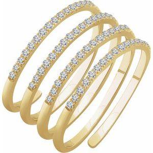 14K Yellow 1/2 CTW Diamond Spiral Ring