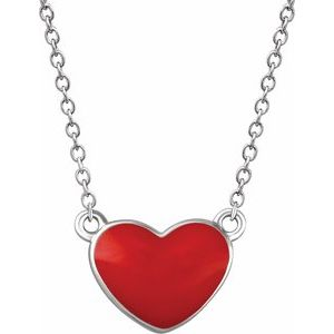"Sterling Silver Red Enamel Heart 16-18"" Necklace"