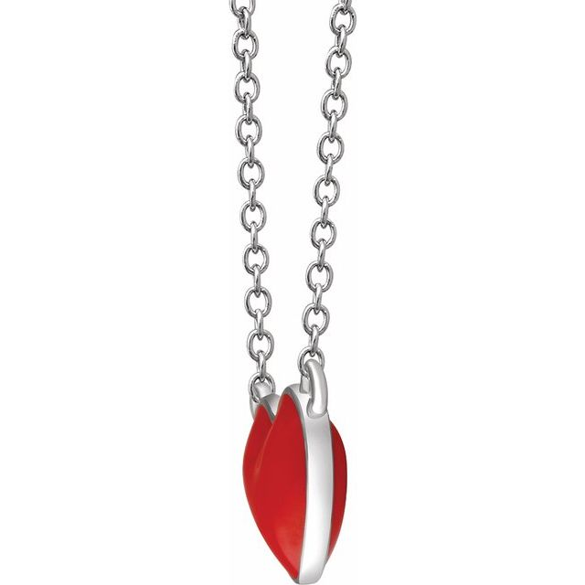 Sterling Silver Red Enamel Heart 16-18