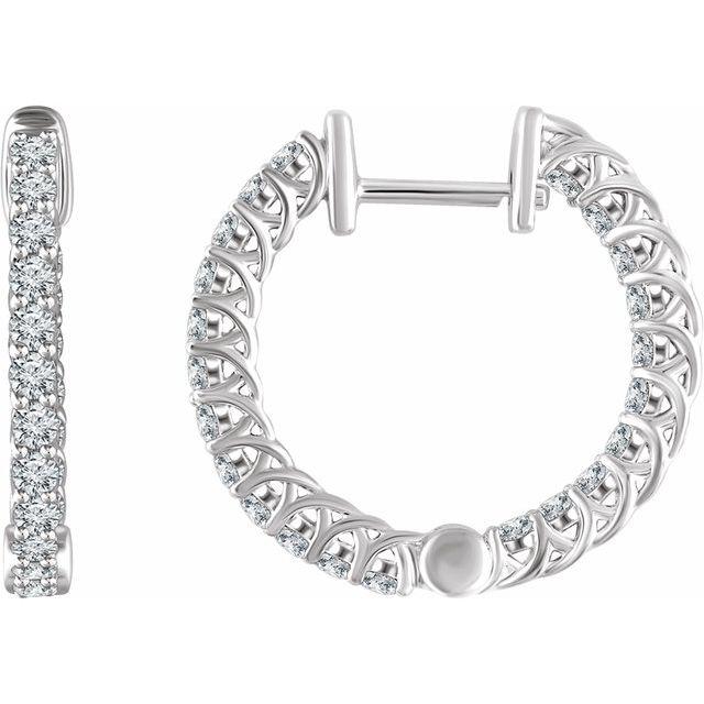 14K White 1 CTW Diamond Inside/Outside 20.1 mm Hoop Earrings