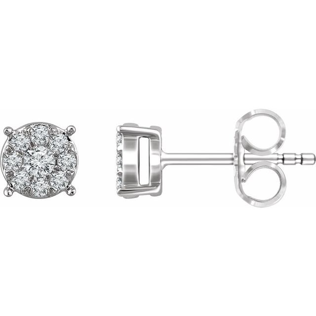 14K White 1/4 CTW Diamond Cluster Stud Earrings