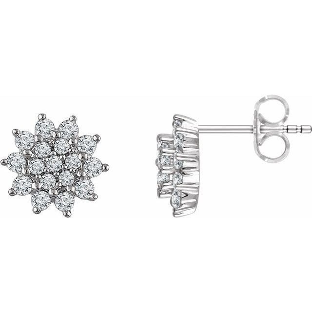 14K White 1/2 CTW Diamond Cluster Stud Earrings