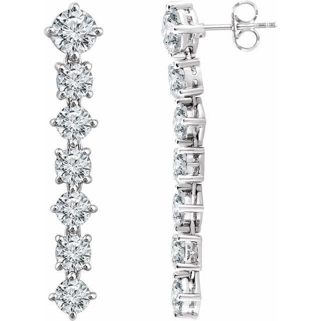 Sterling Silver Cubic Zirconia Seven-Stone Dangle Earrings