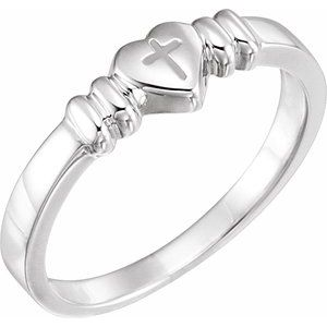 14K White Heart & Cross Chastity Ring Size 6