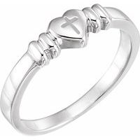 Sterling Silver Heart & Cross Chastity Ring Size 4