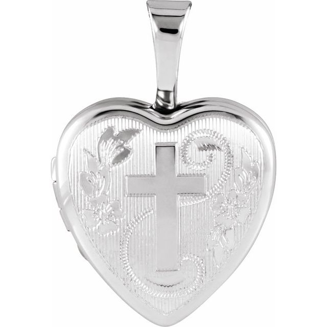 Sterling Silver Heart Locket with Cross
