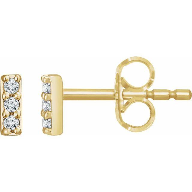 14K Yellow .05 CTW Diamond Bar Earrings